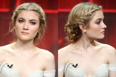 "Don't worry, Skyler Samuels' braid looks much harder than it actually is. After generously spraying a dry texturizer through your hair, part it down the middle, and create a French braid on each side. Join both braids in a knot at the nape of your neck, and ""pull out some flyaways around the ear to create a softer look,"" suggest Lauren and Vanessa."