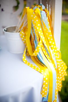 Romantic Whimsical Blue Yellow Maryland Wedding Genevieve Leiper Ribbon Streamers2 275x411 Angel + Jonathans Whimsical Blue and Yellow Maryland Wedding
