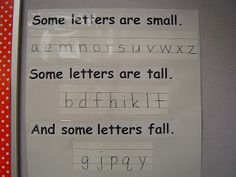 to help the students remember how their letters should look.