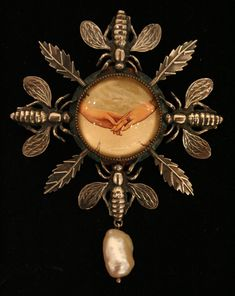 Dave and Roberta Williamson | For My Love (brooch/pendant), Sterling silver, crystal quartz, found objects, baroque pearl