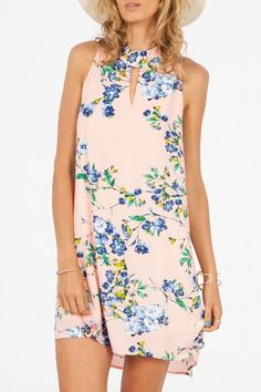 Floral Shift DressFront Cut Out at NeckZipper in BackFully LinedColors: Pink / BlueMaterial: 100% Polyester