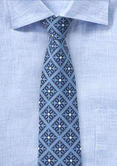 Mexico Tile Cotton Tie in Blue