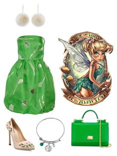 """Tinker bell"" by wezzie on Polyvore featuring Disney, Oscar de la Renta, New Look, Giambattista Valli, Dolce&Gabbana, disney, peterpan, tinkerbell and neverland"