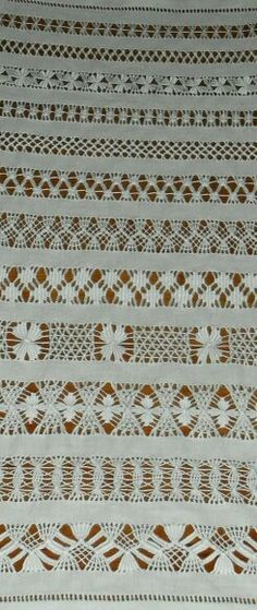 Drawn Thread Sampler by Linda Types Of Embroidery, Embroidery Needles, Embroidery Patterns, Loom Patterns, Hardanger Embroidery, Ribbon Embroidery, Cross Stitch Embroidery, Cross Stitches, Embroidery Techniques