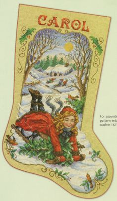 """Bygone Days"" Stocking Counted Cross Stitch Pattern Victorian Girl Sledding"