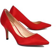 Pre-owned Christian Dior Red Satin Pumps (9,015 DOP) ❤ liked on Polyvore featuring shoes, pumps, red shoes, pointed toe high heel pumps, pointy-toe pumps, cushioned shoes and red satin shoes
