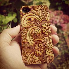 Genuine Wood Cell phone Case with Hand by ShakenDoodleDesigns