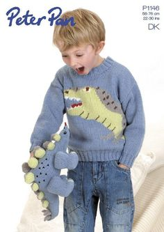 Jumper with Tyrannosaurus Rex design and a Stegosaur toy; this pattern is must-have knit for all those with a young dinosaur fan in their life! Try it with: Peter Pan DK