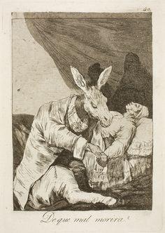 """Francisco de Goya: """"De que mal morira?"""". Serie """"Los caprichos"""" [40]. Etching, aquatint, drypoint and burin on paper, 214 x 149 mm, 1797-99. Museo Nacional del Prado, Madrid, Spain"""