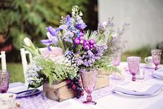 Garden Tea Party Wedding Table setting. Event Design and Photography by: Persian Kitty Kat Events #purple #centerpiece #tablesetting