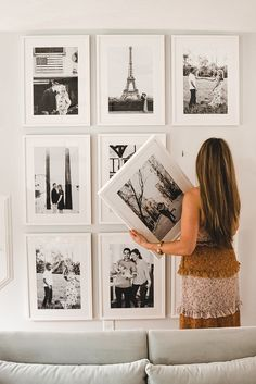 A Mix of Min shares how to easily build a floor to ceiling gallery wall with Framebridge. Frame Wall Collage, Gallery Wall Frames, Frames On Wall, Photo Frame Walls, Ikea Gallery Wall, Ikea Photo Frames, White Photo Frames, Photo Walls, White Frames