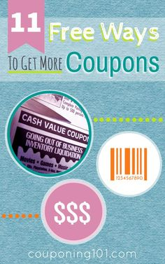 Get started couponing right away with these 11 FREE ways to get more coupons! Everyone can use more coupons, right? Get started couponing right away with these 11 FREE ways to get more coupons! How To Start Couponing, Couponing For Beginners, Couponing 101, Extreme Couponing, Shopping Coupons, Free Coupons, Printable Coupons, Shopping Hacks, Store Hacks
