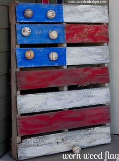Not sure where I would put this, but looks like a fun thing for Kevin and I to make together!!! Worn wood flag with baseballs for stars. Great craft to do with the kids - the more imperfect the better.