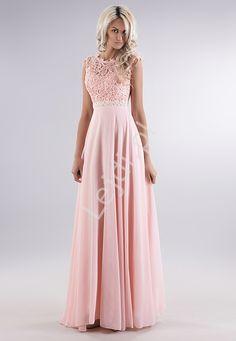 251772ed218 Jasnoróżowa delikatna sukienka z gipiurową koronką na biuście i perełkami.  Suknie Wieczorowe
