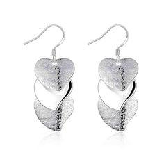 Gloss Heart drop Earings silver plated fashion jewelry earrings for women silver plated earrings SMTE191