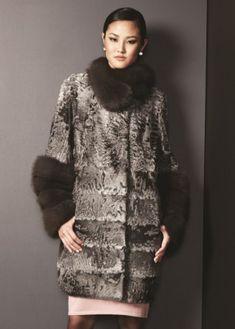 Broadtail lamb coat with sable trim