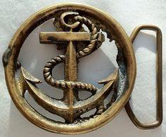 Vintage Belt Buckles | Vintage Brass Anchor Belt Buckle by VintageWolfAntiques on Etsy