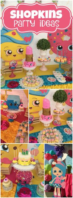How fun is this colorful Shopkins birthday party?! See more party ideas at CatchMyParty.com!                                                                                                                                                      More