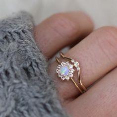 14Kt Gold Opal and Sapphire Fleur de Couer Ring - Melroso