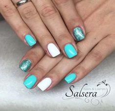 Semi-permanent varnish, false nails, patches: which manicure to choose? - My Nails Nailart, How To Do Nails, My Nails, Aqua Nails, Glitter Nails, Summer Shellac Nails, Glitter Makeup, Nail Polish, Gel Nail
