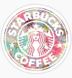 'Colorful Watercolor Floral Starbucks' Sticker by annmariestowe Starbucks Crafts, Starbucks Logo, Starbucks Drinks, Starbucks Coffee, Red Bubble Stickers, Cool Stickers, Printable Stickers, Coffee Wallpaper Iphone, Starbucks Wallpaper