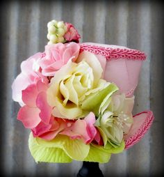 Micro Mini Top Hat in pink Tafetta Flower by Somethingfancydesign, $28.00