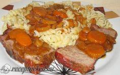 Vörösborban pácolt vaddisznócomb recept fotóval Meatloaf, Sausage, Food And Drink, Pork, Beef, Dishes, Recipes, Pork Roulade, Meat