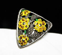 Yellow Pansy Flower Dress Clip - Yellow Enamel & Marcasites - Vintage