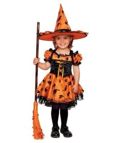 good little witch girls costume - She'll be the cutest witch that ever hopped on a broomstick. Her black and orange dress with black flying witch accents is positively, well, bewitching.