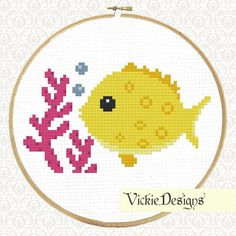 Sea Fish Yellow Seaweed Cross Stitch pattern on Craftsy.com