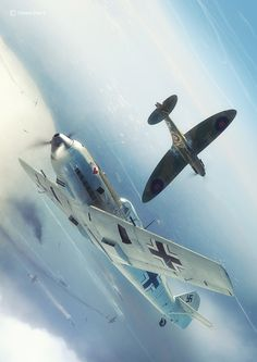 25th July - Lt. Josef Burschgens in Bf109E3 7/JG26 (W7+I) passes by the Spitfire of F/Lt J. Ellis 610Sqn. Ellis was to have two confirmed 109 kills this day. Burschgens claimed a Spitfire
