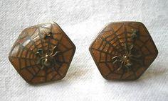 Super RARE Vintage 1930s Art Nouveau Spider in Web Cloisonne Clip On Earrings. $99 obo FREE SHIP!