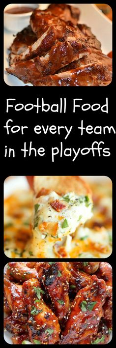 A collection of football food that represents each team in the playoffs! Kick your party up a notch and try these!