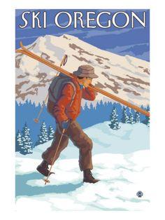 Vintage Ski Posters,  Ski Oregon