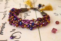 Purple Gold Beaded BraceletTassels Boho Bracelet by byHamelin