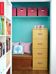 Before & After: Closet Turned Colorful Office Nook