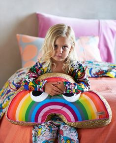 Kip & Co Kid's Starbright + Big Spots Reversible Quilt Cover - King Single Unicorn Rooms, Sequin Cushion, Rainbow Room, Rainbow Birthday, Duvet, Interiors Online, Daughters Room, Kids Room Design, Christmas Gifts For Kids