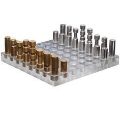 Italian Chess Set in Bronze, Nickel and Acrylic | From a unique collection of antique and modern games at http://www.1stdibs.com/furniture/more-furniture-collectibles/games/
