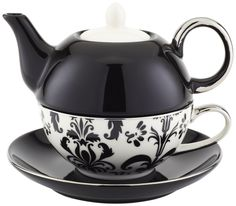 Yedi Houseware CC376 Porcelain Damask Individual Teapot and Teacup, Black and White. Amazon..