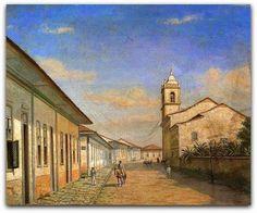 Benedito Calixto  Denominado Rua da Constituição em 1862, este quadro, sem data de execução, é um óleo sobre tela de 49,2x59,5 cm, pertencente ao acervo do Museu Paulista da Universidade de São Paulo (Museu do Ipiranga ).  Nele aparecem à direita a parte posterior da igreja e mosteiro de São Bento, e o largo do mesmo nome.