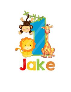 Zoo Animals Birthday, Number, Jungle Printable, DIGITAL Files will be emailed to you for creating your iron-ons, YOU PRINT Jpeg Files Jungle Theme Birthday, Zoo Birthday, Jungle Party, Safari Party, Safari Theme, Animal Birthday, Baby Party, Jungle Animals, Baby Animals