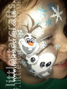 FROZEN OLAF FACE PAINT  - Little Star Faces - Professional Face Painting  Body Art  Face paint Design based on the disney movie frozen character OLAF . Snowflakes, blue, white, sparkle, Frozen, Facepaint, disney.  http://www.littlestarcrafts.co.uk