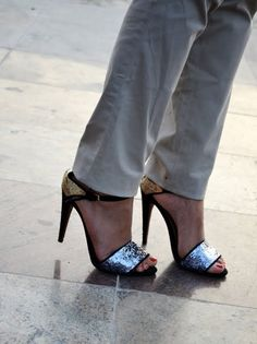 Love these Zara shoes ~ who says you can't mix gold and silver!