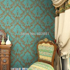 HaokHome Vintage Blue/Bronze wallpaper Retro Damask Non Woven Wallpaper Roll,for home Living room bedroom wallpaper