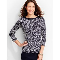 Talbots Women's Button Shoulder Sweater Topper Hearts Aflutter ($50) via Polyvore featuring tops, 3 4 sleeve boatneck top, three quarter sleeve tops, boat neckline tops, boatneck top and bateau neck tops