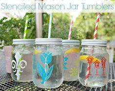Stenciled Mason Jar Tumblers {Hello Summer} I Heart Nap Time | I Heart Nap Time - Easy recipes, DIY crafts, Homemaking