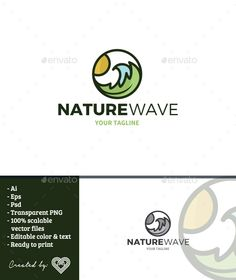Nature Wave Logo Template is a logo template with the themes a wave formed by a leaf.