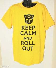 TRANSFORMERS KEEP CALM & ROLL OUT YOUTH BOY LARGE OR GIRL YELLOW SHIRT 2010…