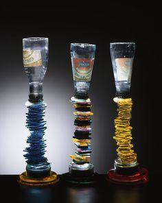 Danny Lane Gingerino Glass 1991 verres à pied verre , plomb et silicone ed danny lane