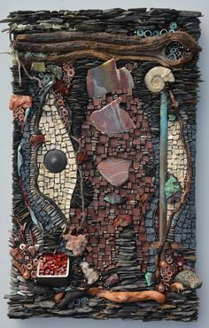 Red Earth: Ammonite, copper, travertine, porcelain, pebbles, shale, driftwood, recycled metal. By: Karen Klassen Mosaics.ca